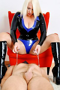 Divine mistress has decided to allow her slave an orgasm with extreme nipple play