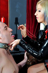 Wormy husband is permitted to worship his femdom wife and swallow ash