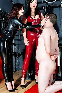 Male sub gets punished by face slapping from Mistresses