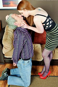 Sadistic wife punishes her husband by by making him swallow her spit