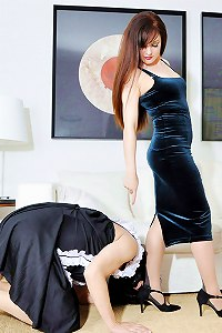 Two tough babes train sissy maid