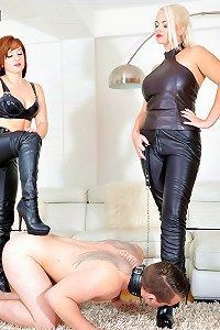 Sadistic Mistresses in leather bodysuits humiliates fresh manmeat