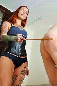 Two cruel femdom bitches are in the mood to punish her slave with the cane