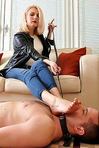 Divine goddess indulge her fanboy to lick her boots and heels clean