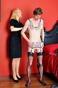 Submissive sissy is completely used by sexy lady