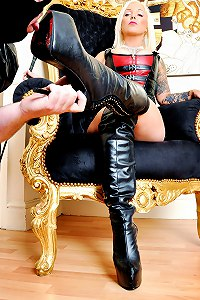 Divine mistress has exacting standards when it comes to worship her leather boots